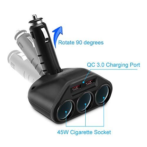 Rocketek KFZ Ladegerät Auto USB Schnelladegerät, 120W 3 - Zigarettenanzünder Splitter, QC 3.0 Adapter 5.4A für iPhone iPad Android Samsung GPS und Mehr Multi-Ladegerät Power Adapter... Car Power Socket
