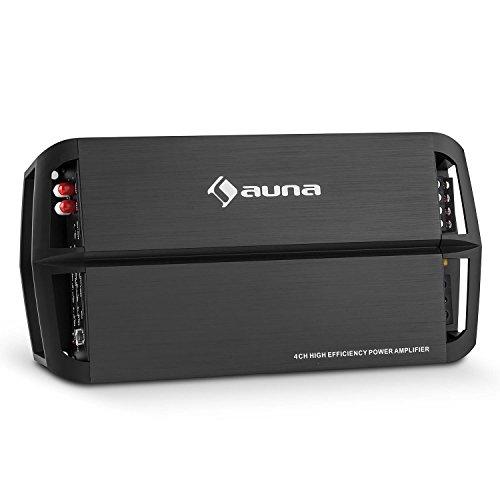 auna AMP490BK • Car HiFi Verstärker • 4-Kanal Auto-Endstufe • Car Amplifier • 360 Watt RMS Leistung • Bass Boost Schalter • Frequenzbereich: 50 Hz-500 Hz • LED • brückbar • 4/2-Kanal-Betrieb • Kabelfernbedienung mit Lautstärkeregler • schwarz