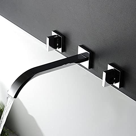 Tourmeler Waterfall Widespread Contemporary Bathroom Sink Sanitary Wall Mount Faucet