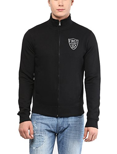 American Crew Men's Solid Full Sleeves Zipper Jacket With Applique (black)