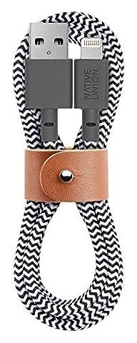 Native Union Câble BELT - Câble de 1,20 Mètre Ultra Solide Renforcé [Certifié Apple Mfi] - Câble Lightning de Charge à USB avec Courroie en Cuir (Zebra)