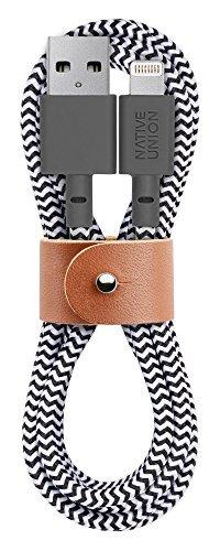 Native Union Belt Kabel - 1.2 Meter Ultra-Starkes Verstärktes [Apple MFi-Zertifiziert] Lightning auf USB-Ladekabel mit Lederband (Zebra) (X Zebra 5 8)