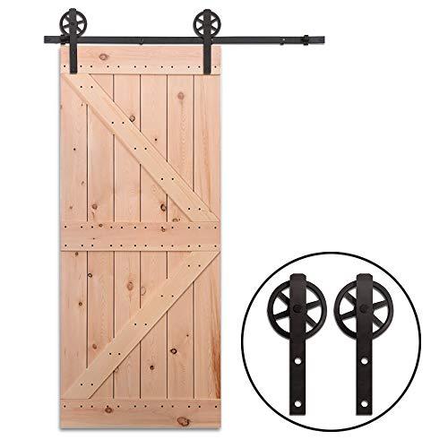 8FT/243cm Schiebe Tür-Hardware-Track-Kit Einzeltür Holztür - Sliding Barn Wood Door Hardware Track Kit For Single Door Big Wheel Roller Hanger Set - Neue Roller