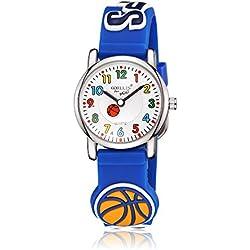 Leaders Dirigentes hijos tiempo maestro reloj reloj de cuarzo con fácil leer la historieta 3D reloj de silicona suave banda Comodo para los niños lindos de baloncesto