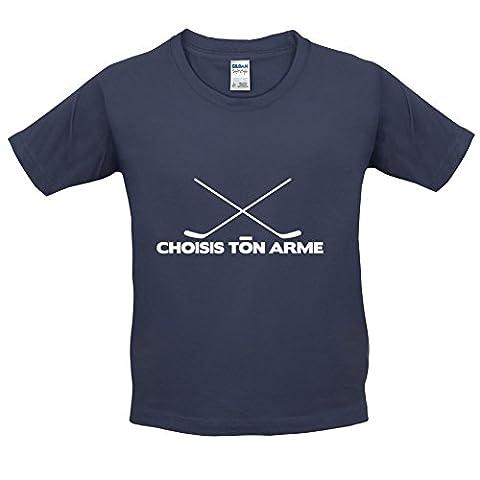 Choisis Ton Arme - Hockey Sur Glace - T-Shirt Enfant - Bleu Foncé - L (9-11 ans)