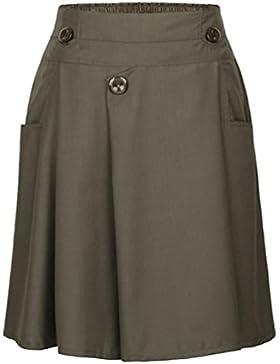 ZhiYuanAN Mujer Falda Plisado De Cintura Alta Con Dos Bolsillos Elegantes A Línea Faldas Midi Talla Grande Casual...