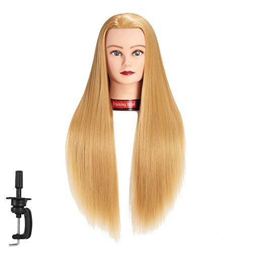 Testa di manichino 66 - 71,1 cm Hair styling formazione testa testa Cosmetologia bambola manichino capelli parrucchiere training modello in fibra sintetica con free morsetto (Blond)