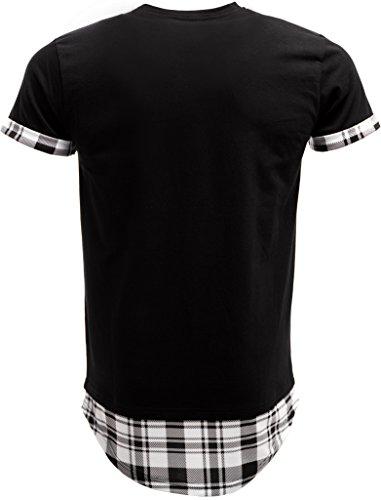 MAKI Styles Herren 3530 Oversize T-Shirt mit Hemdeinsatz Weiß
