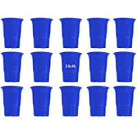50x Vasos Azul Vasos desechables, desechables vasos (plástico, 450ml, muy estable