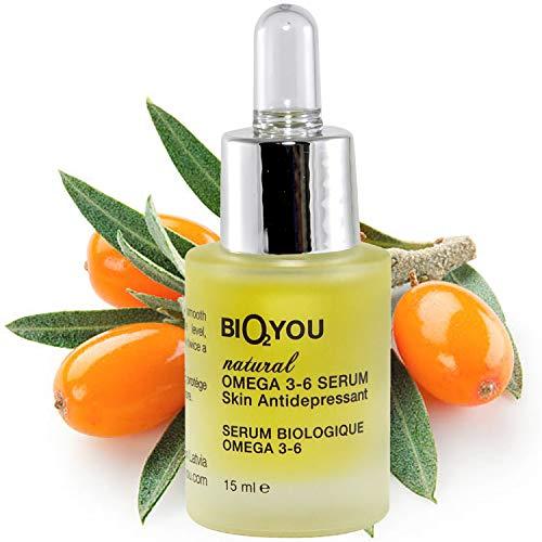 Anti-Aging Omega 3-6 Serum mit Vitamin E +Avocadoöl +Jojobaöl +Muscum Rose Öl +Macadamiaöl +Olivenöl und Sanddornöl. Haut...
