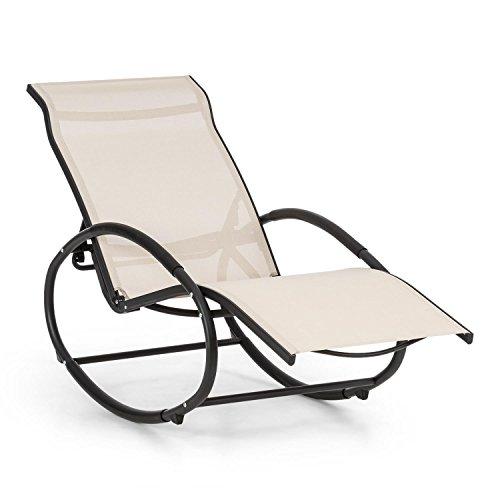 Blumfeldt Santorini • Fauteuil à Bascule • 3 Positions réglables du Dossier • Tubes d'aluminium de 30 mm d'épaisseur • 4 butées de sécurité • Relaxation dans Votre Jardin • Beige