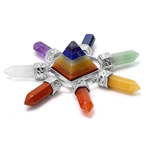 AITELEI Generador de energía pirámide de cuarzo transparente, piedra de cristal curativa Reiki Chakra, punto de cuarzo rock pirámide cuatro direcciones, reiki, wicca y energía