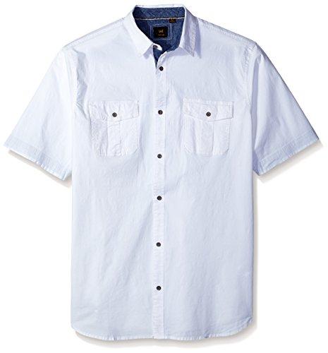 LEE Men's Short Sleeve Button Down Dress Shirt Camp Regular Big Tall - Big And Tall Men ' S Dress Shirts