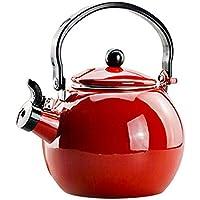 TAMUME 2 Litres Théières pour Cuisinière Bouilloire Émail Sifflante et Distributeurs d'eau Chaude Parfait pour Faire du Thé et de la Soupe Bouilloire de Cuisine à Gaz - Rouge (Rouge)