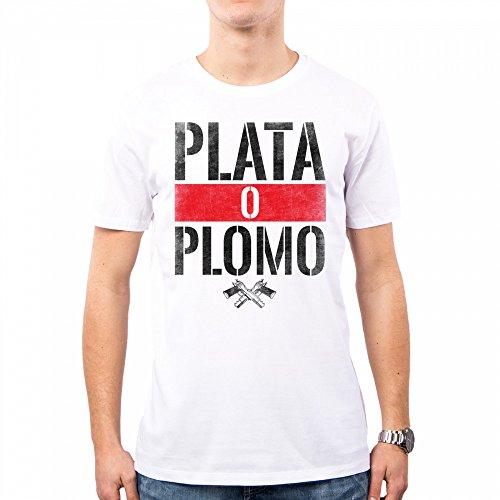 PacDesign Camiseta Hombre Narcos Serie TV Plomo O Plata Pablo Escobar Anni 80 80s Pd0018a, M, White