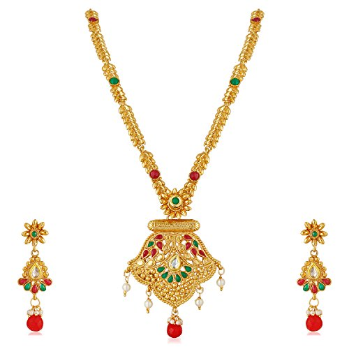 Apara Antique Long Haram Necklace Set with Pearl Drop for Women