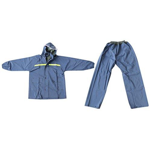 absolut wasserdicht Regenkombi, Regenjacke + Regenhosen, geieinet für Outdoor Aktivitäten - Regenschutz und Nässeschutz - Marineblau, One Size