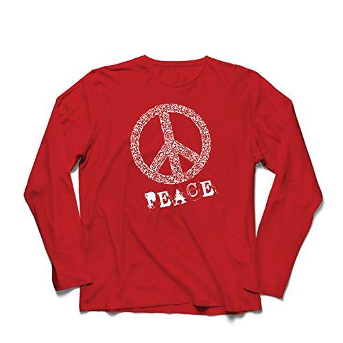 (Langarm Herren t Shirts FRIEDENSsymbol - 1960er Jahre 1970er Jahre Hippie Hippie, Street-Kleidung, Friedenszeichen, Sommer Festival Hipster Swag (X-Large Rot Mehrfarben))