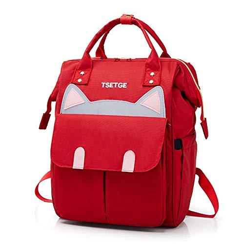 ZSLD Windel-Beutel-Rucksack Für Mamma, Große Kapazitäts-Wickeltaschen Mit Insulated Taschen, Multifunktions-Waterproof Travel Back Pack Baby-Windel-Wickeltaschen, Stilvoll Und Haltbar,Rot -