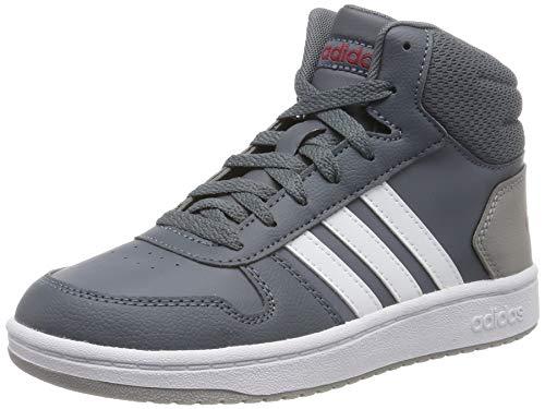 adidas Unisex-Kinder Hoops 2.0 Mid Hohe Sneaker, Grau (Onix/Footwear White/Active Maroon 0), 36 2/3 EU