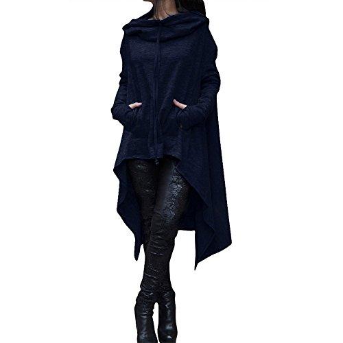 OVERDOSE Frauen beiläufiges Unregelmäßiges mit Kapuze Sweatshirt Damen Langen Oute Pullover Bluswear Mäntel  (XL, B-Navy)