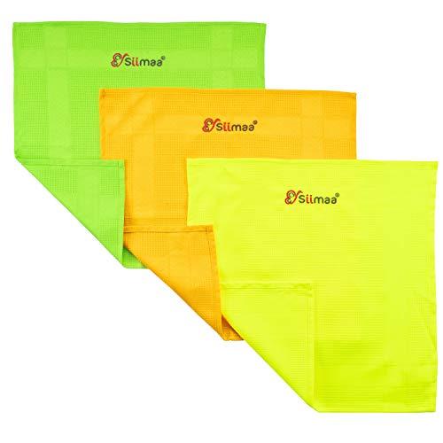 Siimaa® Neon Putztücher Premium Profi Microfaser Allzweck-Reinigungstücher ohne Putzmittel für Streifenfreien Glanz im Haushalt, Auto, Büro sowie für Fenster Spiegel Glas uvm. 40x40cm