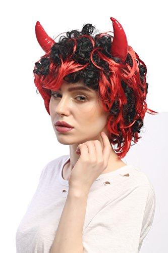 WIG ME UP - 4045-P103-13 Perücke Karneval Mann Frau Fasching Halloween Teufel Teufelin Dämon She-Devil Hörner Schwarz (Halloween Kostüm Teufel Männer)