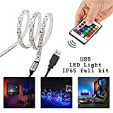 Iluminación posterior LED TV 1 m, kit de tiras LED para TV de 40-60 pulgadas, Simfonio RGB 5050 LED Strip con mando a distancia, USB Powered iluminación TV
