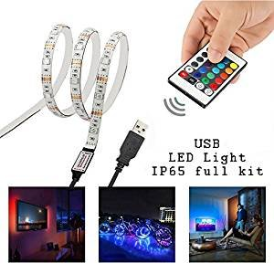 Simfonio LED Stripes 1m - LED Band Wasserdicht 5050 SMD RGB LED Strip für LED TV Hintergrundbeleuchtung USB LED Streifen mit Fernbedienung
