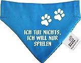 KLEINER FRATZ Hunde Durchzugstuch (Fb: Aqua-Kobalt) (Gr.S - 16 x 11 cm) Ich Tue Doch Nichts Ich Will Nur Spielen