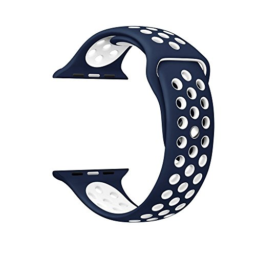 Apple watch sport band, invella Soft Silicone Replacement Wrist Strap for Apple Watch 42mm Sport Edition (Navy - White) - LARGE SIZE