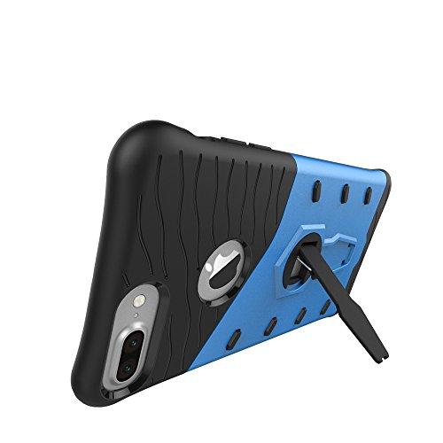 EKINHUI Case Cover Tough Hybrid Heavy Duty Shock Proof Defender Cover Dual Layer Armor Combo Mit 360 ° Swivel Stand Schutzhülle für iPhone 7 Plus & iPhone 8 Plus ( Color : Gold ) Blue