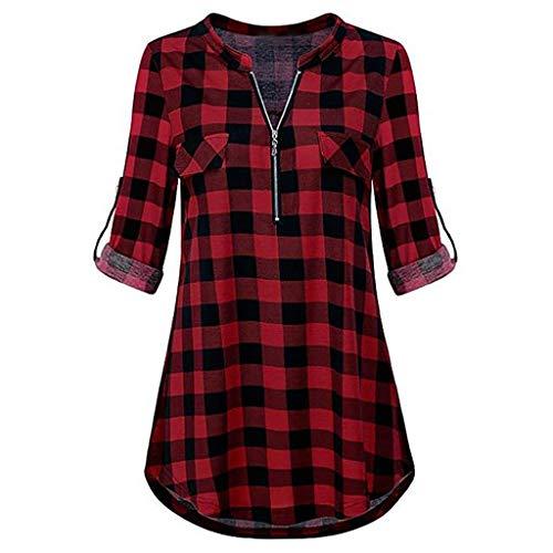 Moserian Damen T-Shirt Reißverschluss Plaid V-Ausschnitt Langarm Freizeithemd Bluse Top