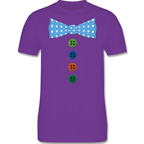 Anlässe Kind - Clown Kostüm Blaue Fliege - 96-104 (3-4 Jahre) - Lila - L190K - Premium Kinder T-Shirt aus Baumwolle für Mädchen und Jungen