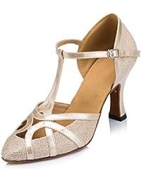 Doris Women's Satin Diamond-Studded Wedding Heels Salsa Tango Modern Ballrom Latin Dance Shoes Sandals Purple UK 5.5 lEqqWdB