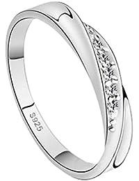 Aivtalk - Bague Couple Amoureux Argent 925 Avec Pierre en Oxyde de zirconium - Pour Femme Homme Alliance Fiançaille Mariage
