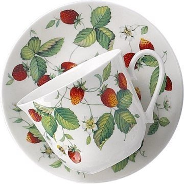 Roy Kirkham Alpine Strawberry Breakfast Cup & Saucer in Fine Bone China by Roy Kirkham Roy Kirkham Alpine Strawberry