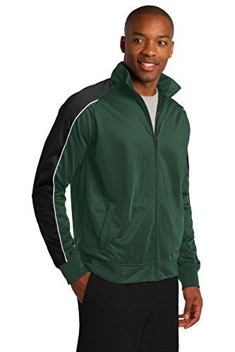 Sport-Tek passepoilé en tricot Veste de survêtement jst92 For Grn/Blk/Wh