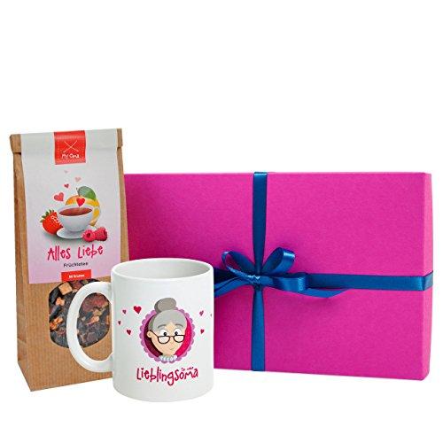 Oma Geschenk * Omas Teestunde mit Oma Tasse + Früchte Tee in Geschenkbox* –Tasse Oma beidseitig bedruckt+MyOma Tee + GRATIS Glückwunschkarte FÜR MEINE LIEBLINGSOMA – Geschenkideen von MyOma