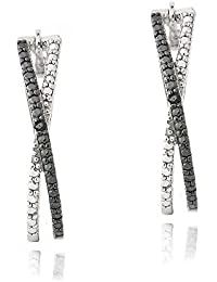 Boucle d'Oreilles Ovales en Argent Sterling avec un Accent de Diamant Noir. Cerceau Torsadé