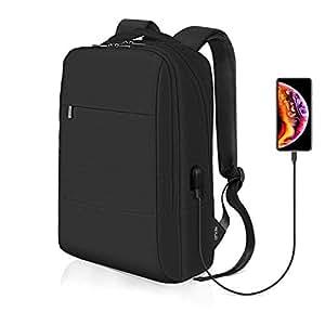REYLEO Business Rucksack Herren und Damen Laptop Tasche Daypack für Dienstreise und Schule Wasserabweisend schwarz-18 Liter RB07