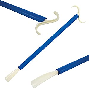 DRESSING STICK AND SHOE HORN - Long handled shoe horn and dressing stick.