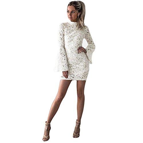 Bekleidung Loveso Kleid Sommerkleider Herbst Kleidung Damen Mode Weiße Spitze Breathable Slim Minikleid Lange Ärmel Kurze Kleid Noble Abendkleider Elegante Partykleid ((Größe):40 (XL), Weiß)
