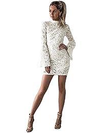 a7681b5bf73 Bekleidung Loveso Kleid Sommerkleider Herbst Kleidung Damen Mode Weiße  Spitze Breathable Slim Minikleid Lange Ärmel Kurze Kleid Noble…