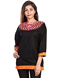 Fashion Store Women's Hand Embroidered Chicken Work Cotton Cambric Kurti (Black , Medium)