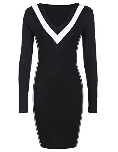 ZEARO Damen Kleid V-Ansatz Freizeit Regular Herbst Kleider Schwarz