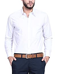 VANGULL Full Sleeve Slim Fit Plain Casual Shirt (White, 38)
