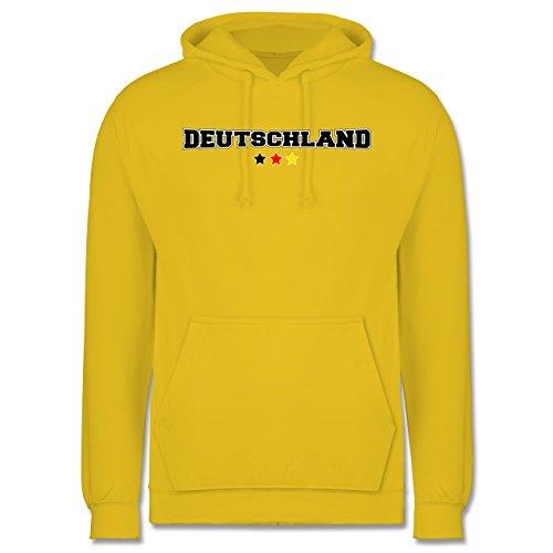 EM 2016 - Frankreich - Deutschland College Schriftzug - Männer Premium Kapuzenpullover / Hoodie Gelb