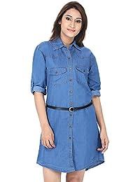 FRANCLO women's Denim dress (Light Blue, 36)