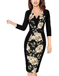 1a4d8628ce8 MisShow Damen V Ausschnitt Business Kleid Partykleid Pencil Etuikleider  Strecken Tunika Gr.S-4XL